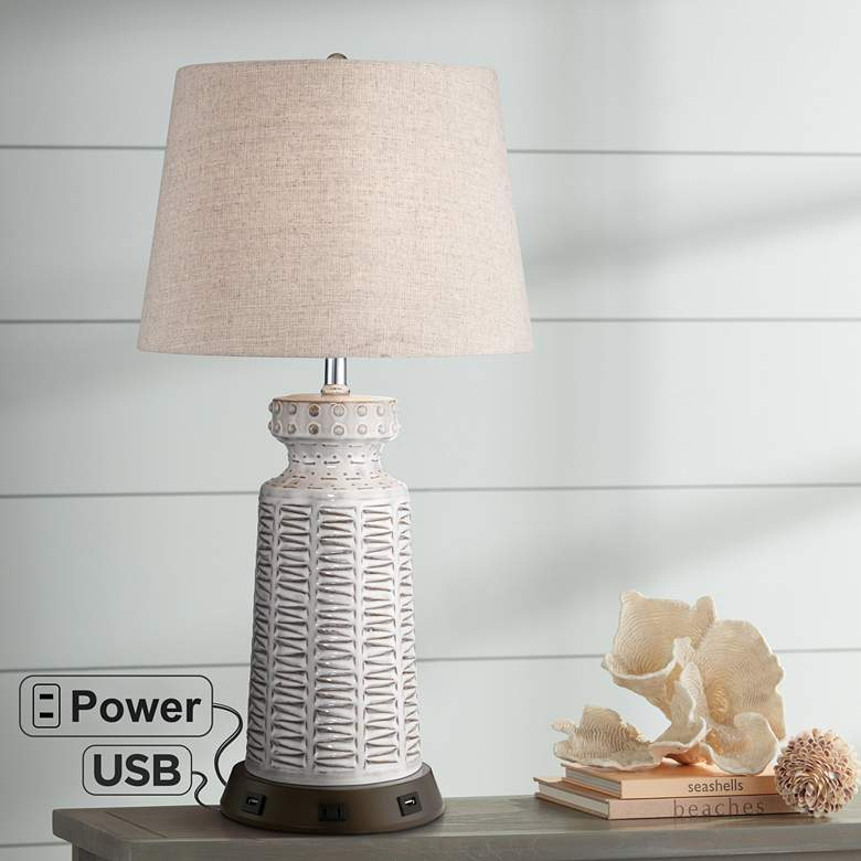 Helene White Ceramic Table Lamp With Usb Workstation Base 68v29 Lamps Plus In 2021 Ceramic Table Lamps Lamp Table Lamp