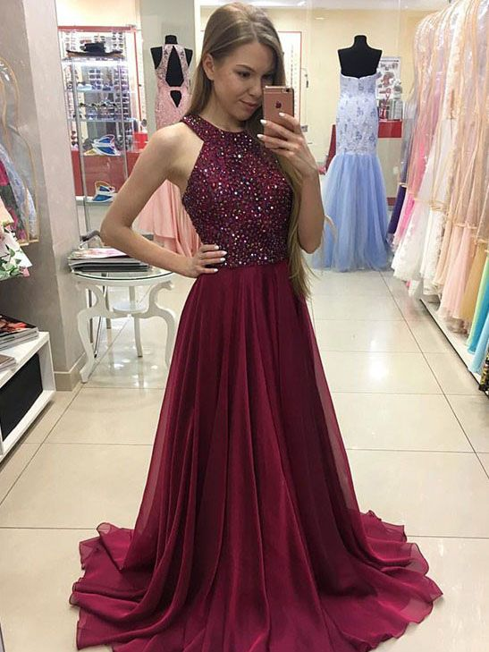 04248c41c63 Burgundy Prom Dress - Sparkly Long Chiffon