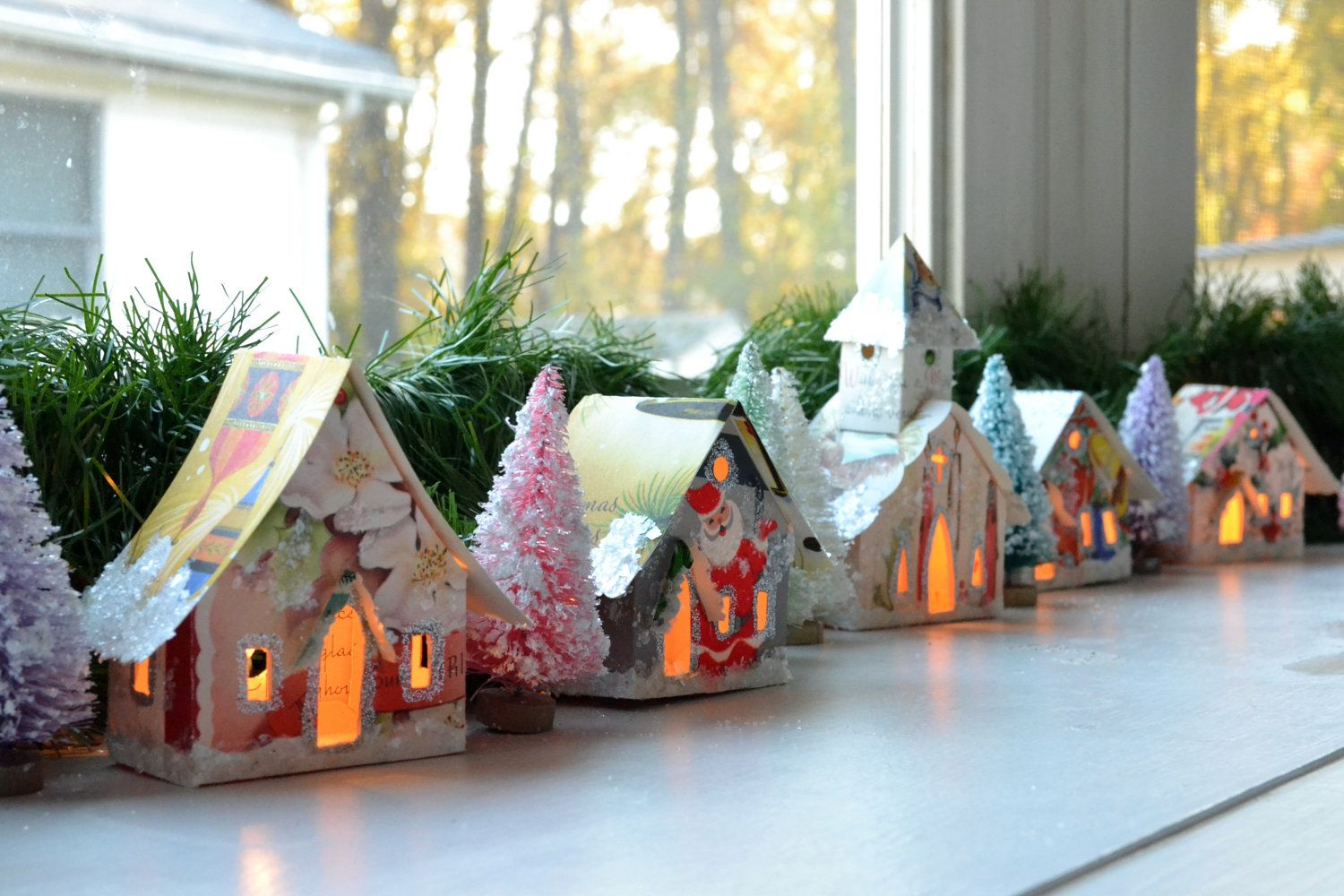 Sweet Little Putz Glitter Houses Church Village House Ornaments That Light Up Handmade From Vintage Christmas Cards Unique Decoration In 2020 House Ornaments Glitter Houses Christmas Card Crafts