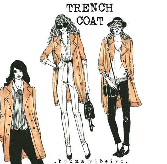 3 maneiras clássicas de usar o Trench coat  Ilustração Bruna Ribeiro  www.brunaribeiro.com/blog