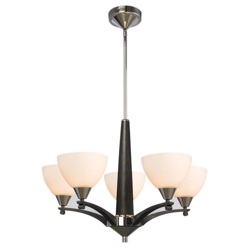 "Five Light Chandelier w/6"",12"",18"" Extension Rods - Chrome/Black w/ White Glass : 70GU6 | The Lighting Boutique"