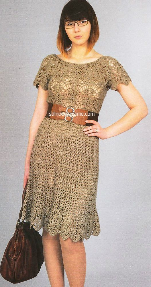 Вязание крючком бежевые платья