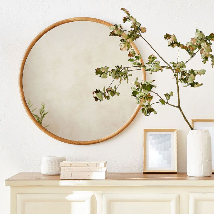 round mirror with wooden frame mirrors decoration. Black Bedroom Furniture Sets. Home Design Ideas