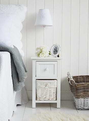 Bar Harbor Narrow Small White Bedside Table White Cottage Bedroom Furniture In 2020 Small White Bedside Table Bedside Table Decor Slim Bedside Table