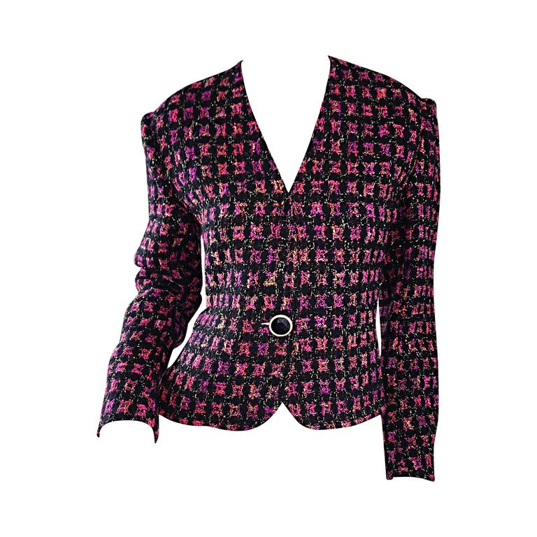 Vintage Jaeger ' Fantasy Tweed ' Purple + Pink + Black Metallic Blazer Jacket | From a collection of rare vintage jackets at https://www.1stdibs.com/fashion/clothing/jackets/