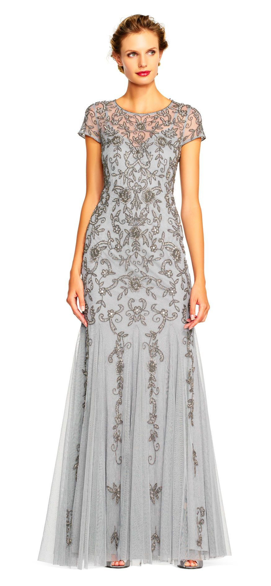 968e929664 Adrianna Papell | Illusion Short Sleeve Beaded Gown with Godet Skirt and  Keyhole Back