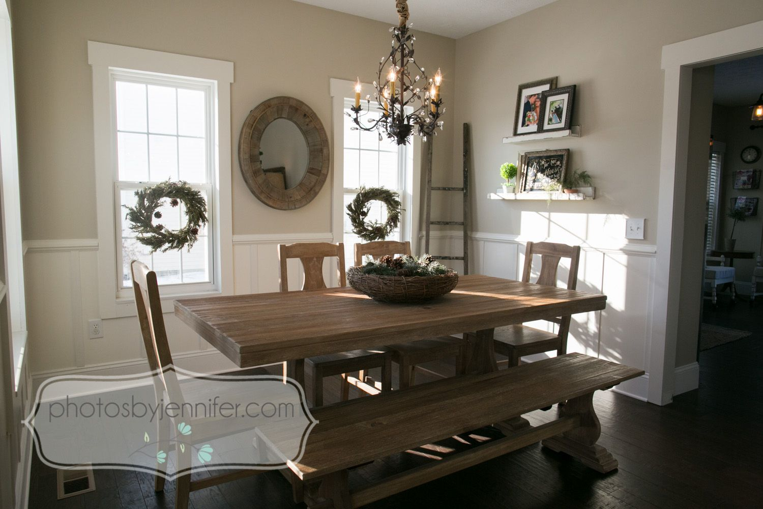 Diy board and batten diy shelves old farm ladder farmhouse table rustic dining room chandelier from home depot color on wall oatbran by valspar
