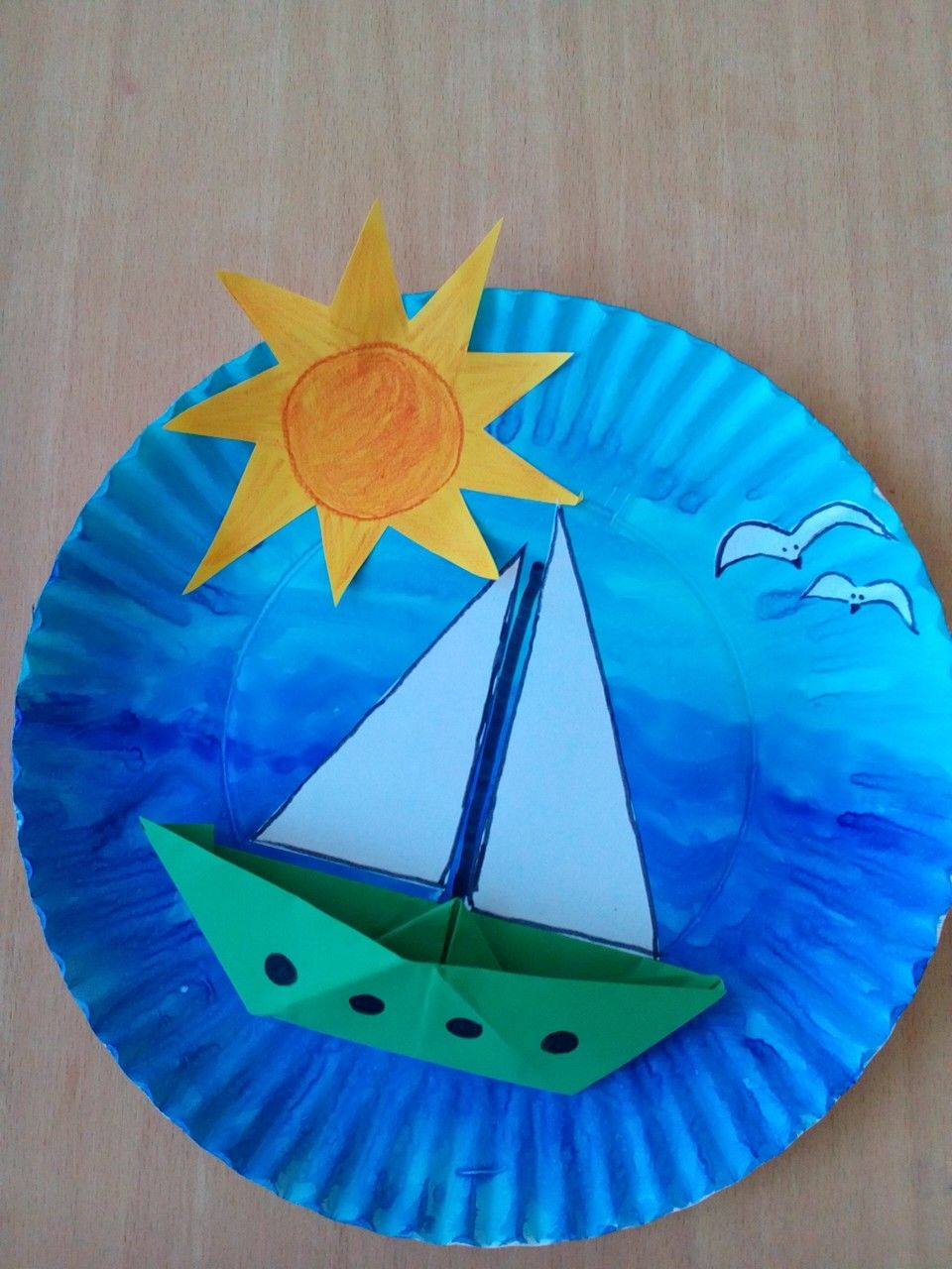 Paper plate boat under the sun craft for kids & Paper plate boat under the sun craft for kids | origami | Pinterest ...