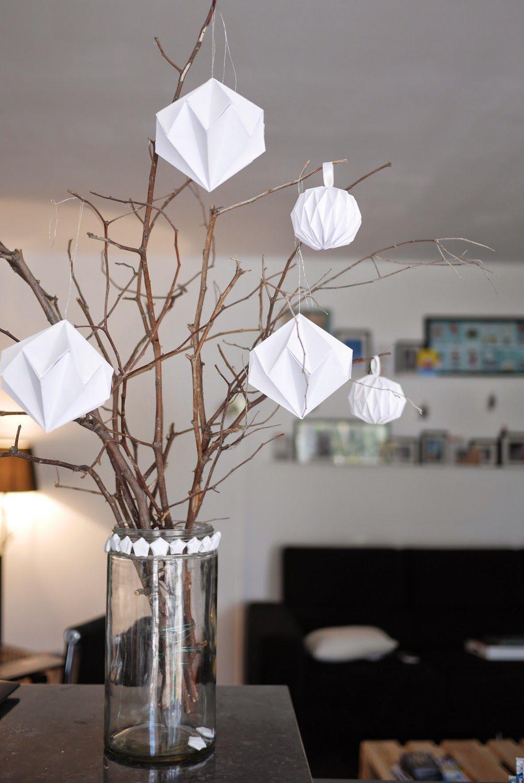 diy dcoration de nol boules origami diamants en papier guirlande dtoiles - Decoration De Noel En Origami