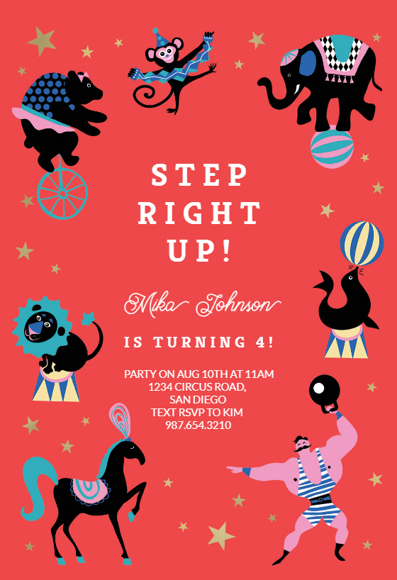 Circus Party Invitation Template Customize Add Text And Photos