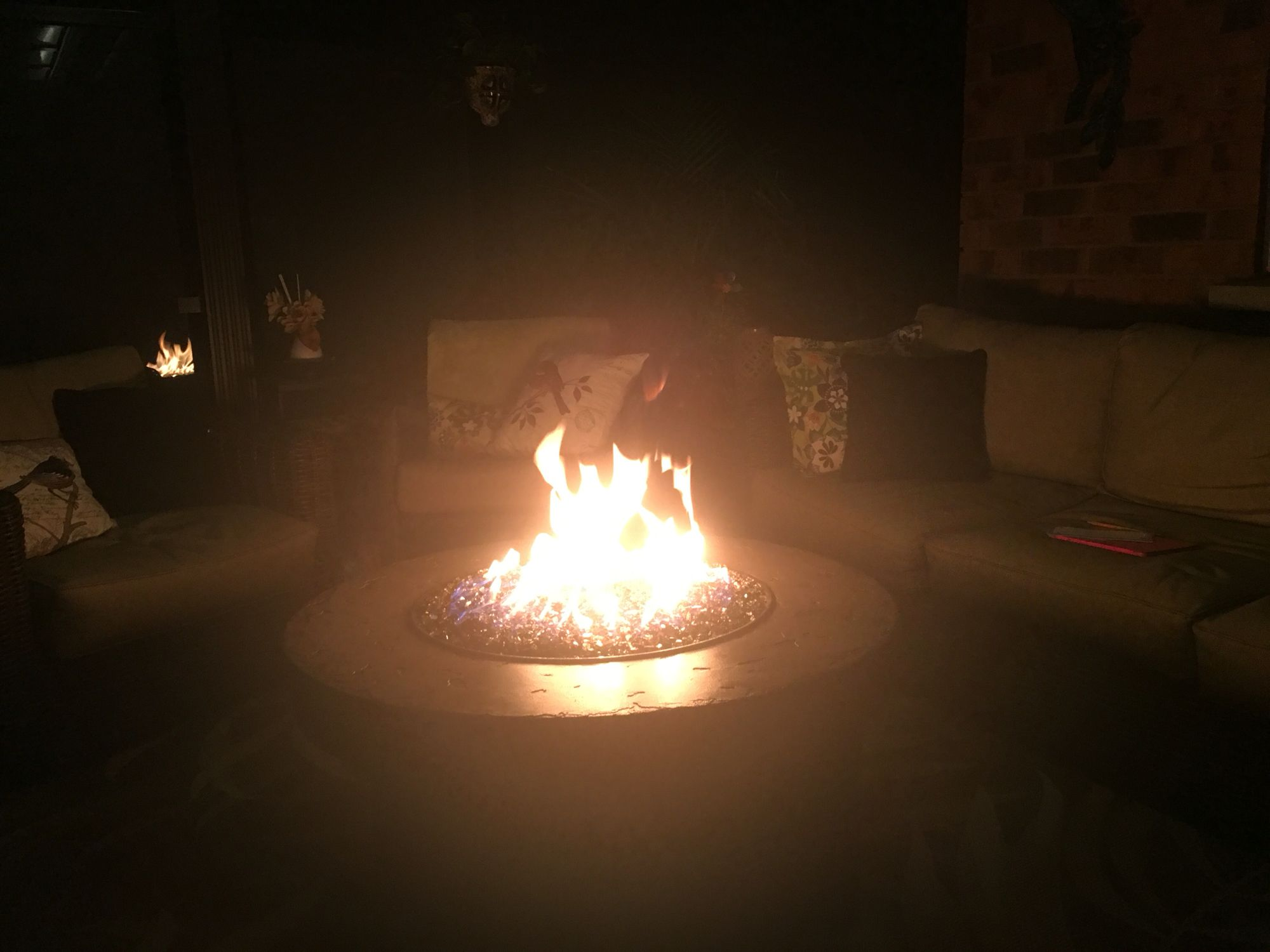 Fire pit roaring strong