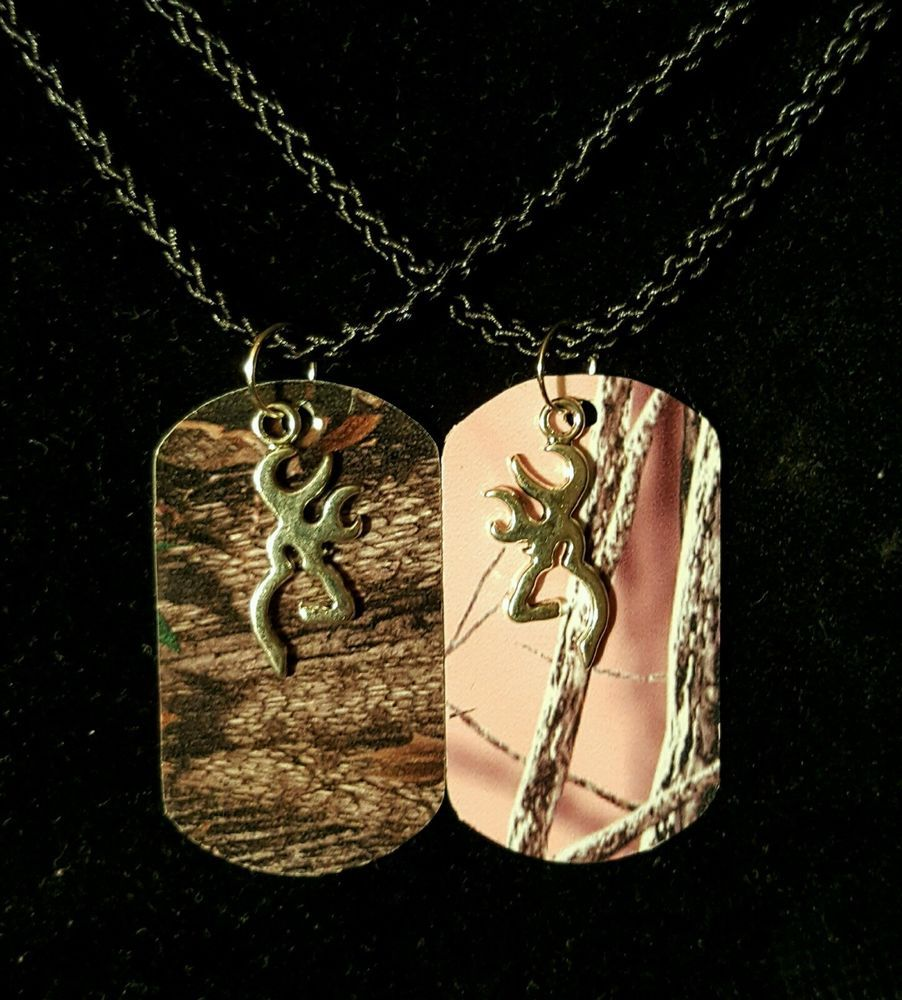 His Hers Buck Doe Camo Dog Tag Necklace 2 Pc Set New Browning Deer