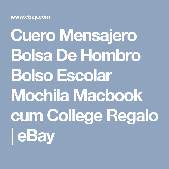 Cuero Mensajero Bolsa De Hombro Bolso Escolar Mochila Macbook cum College Regalo  | eBay
