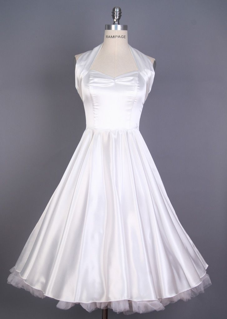 White Swing Dress Satin Love