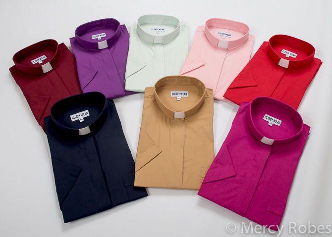 Men/'s Tab Collar Clergy Preacher Clerical Minister Shirt Short Sleeves *PURPLE*