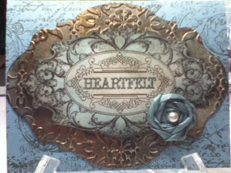 Layered Labels Faux Copper Patina by kimsalstampin - Cards and Paper Crafts at Splitcoaststampers