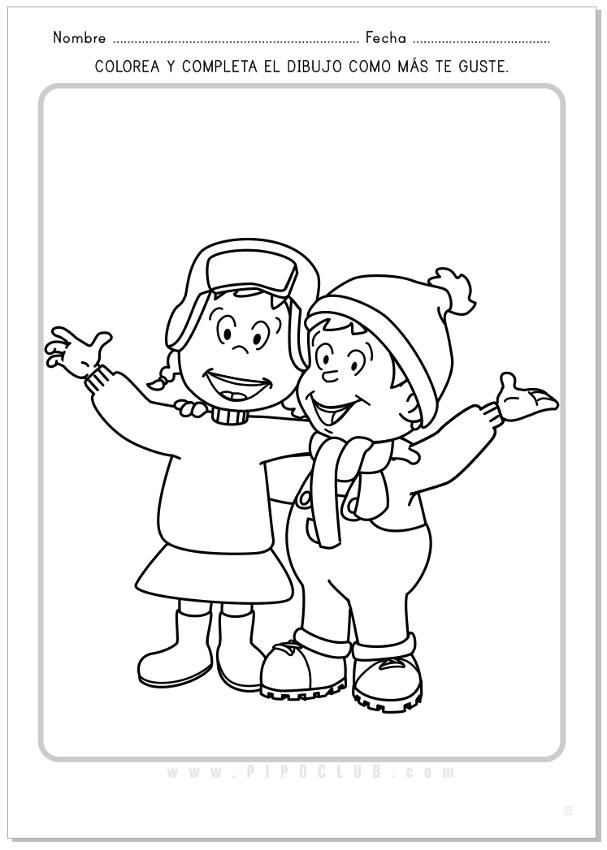 Pipo y su hermana Cuca en invierno. Actividad para colorear ...