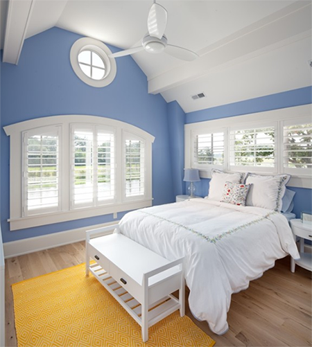 Sky Blue Bedroom With White Trim Pantone Serenity Used In Interior Design Sunflower Gold Rug Pale Wood Floor