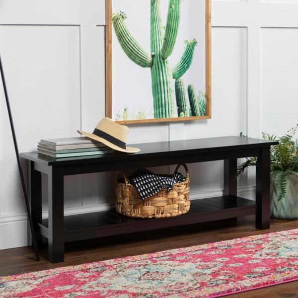 Walker Edison Furniture Company Country Style Black Entry Bench with Slatted Shelf HD50CYSLBL  The Home Depot Walker Edison Furniture Company Country Style Black Entry Be...