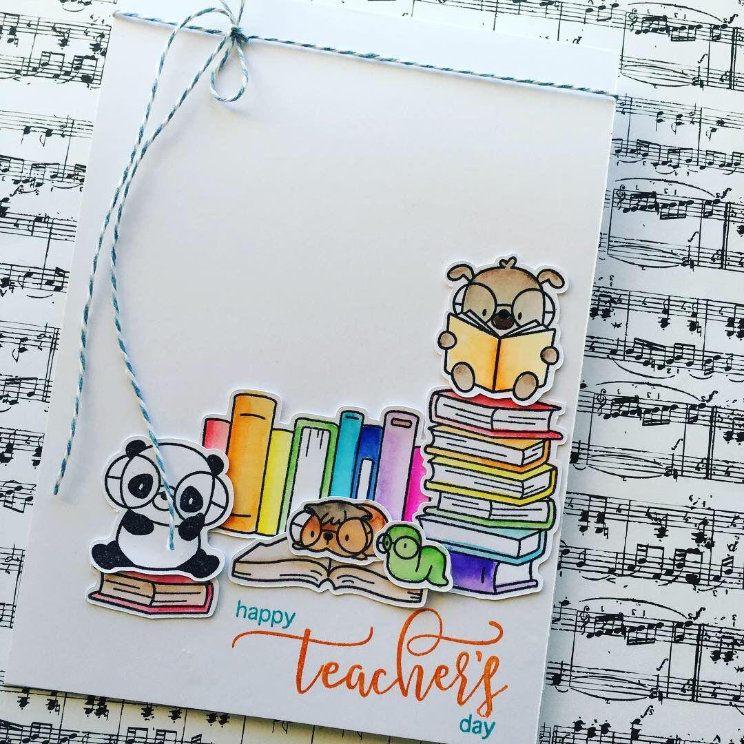 Thank You Teacher Cards Made Using Mama Elephant Book Worm Stamps Mama Elephant Stamps Mama Elephant Cards Teacher Cards