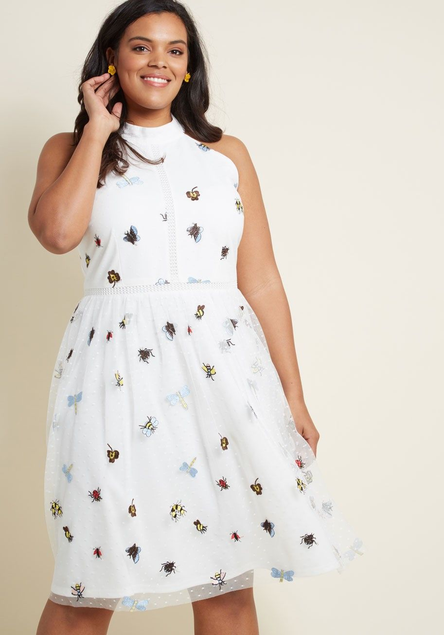 Bbw wedding dresses  Plus Size Wedding Defining Divine Midi Dress in Insects
