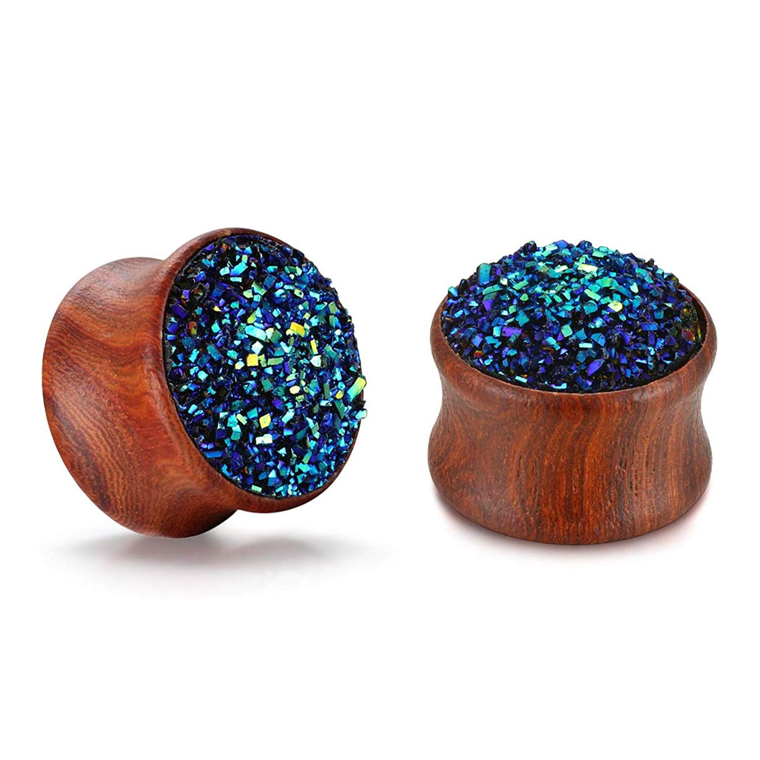 Body piercing areas  Angel King Nature Wooden Ear Plugs Tunnels Multicolored Gauges