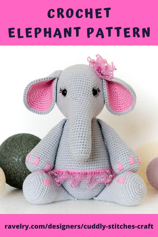 Crochet Elephant Pattern, Amigurumi Elephant Pattern