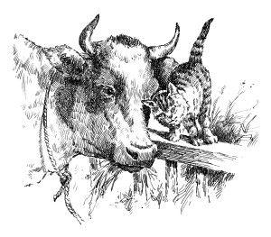 Vintage Farm Image Milking Time Poem Black And White Clipart Cow Kitten Clip Art Old Fashioned Farm Graphics Art Art Supplies Labels Vintage Images