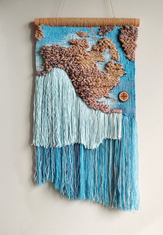 Woven Wall Hanging Wall Map Of The World Map Modern Tapestry Beige Blue Woven Wall Hanging Tex Textile Wall Hangings Woven Wall Hanging Tapestry Weaving
