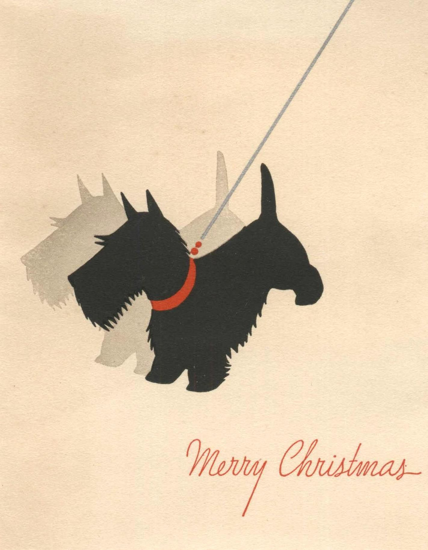Scottish Terrier and his Shadow vintage Christmas card Scottie dog ...