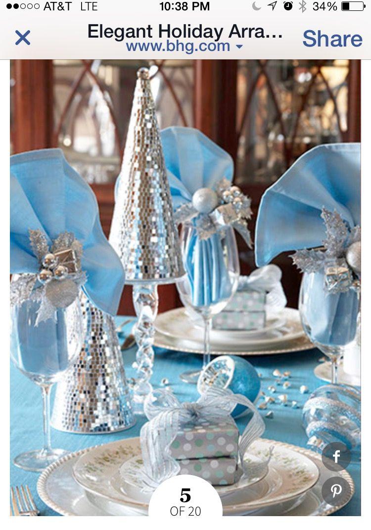 Blue themed wedding decor  Pin by Kathy Little on Christmas  Pinterest