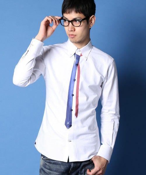 GUILD PRIME MENS(ギルドプライム メンズ)の【GUILD PRIME】MENS ネクタイプリントシャツ(シャツ/ブラウス) ホワイト