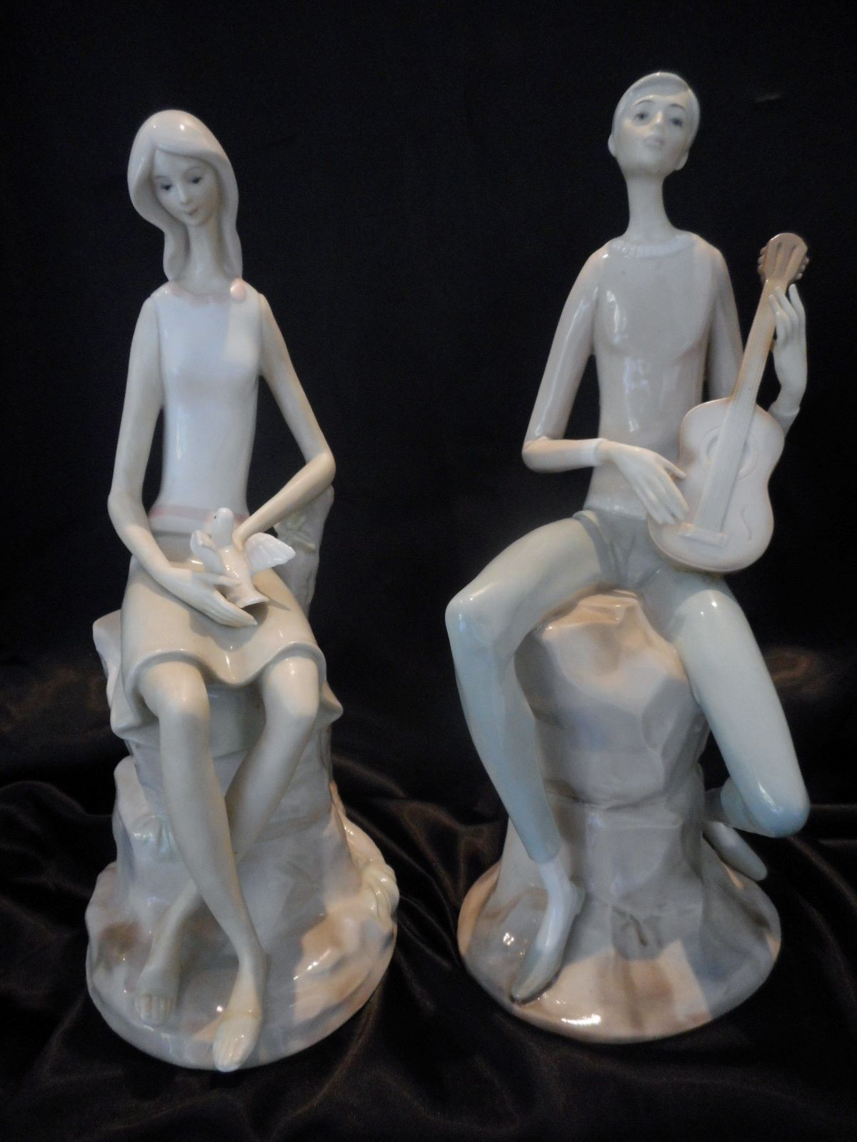 A Pair Of Spanish Figurines Girl With Dove Amp Boy With