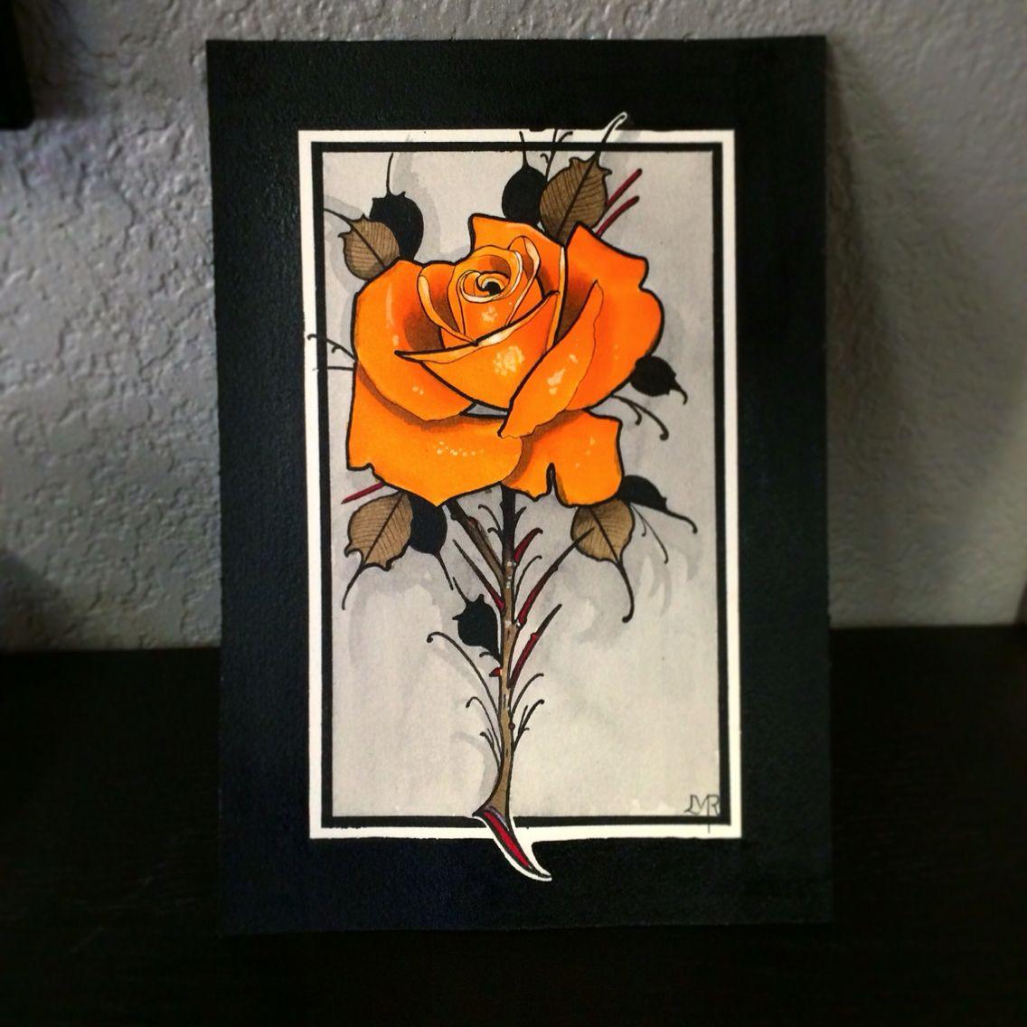 Artist Umbrellaface Neo Traditional Rose Water Color Hvyontheblk Neo Traditional Roses Traditional Rose Tattoos Rose Tattoo Design