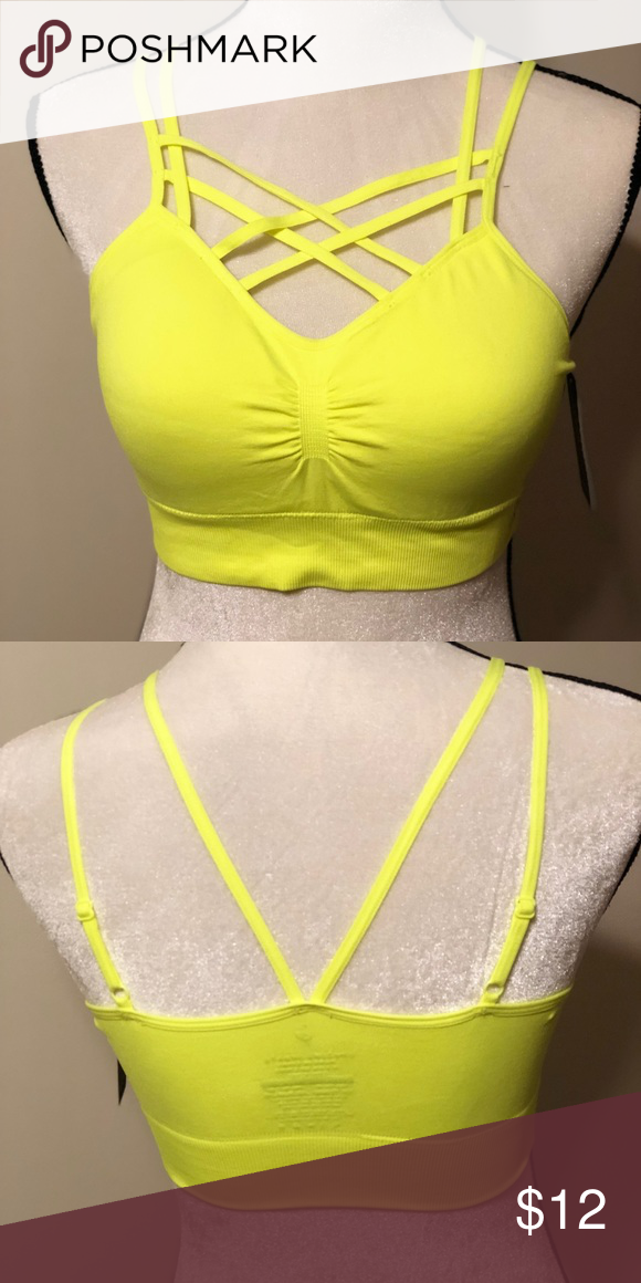 9a8655835ea Yellow L XL Bralette Brand new with tags neon yellow Bralette with cage  detail on