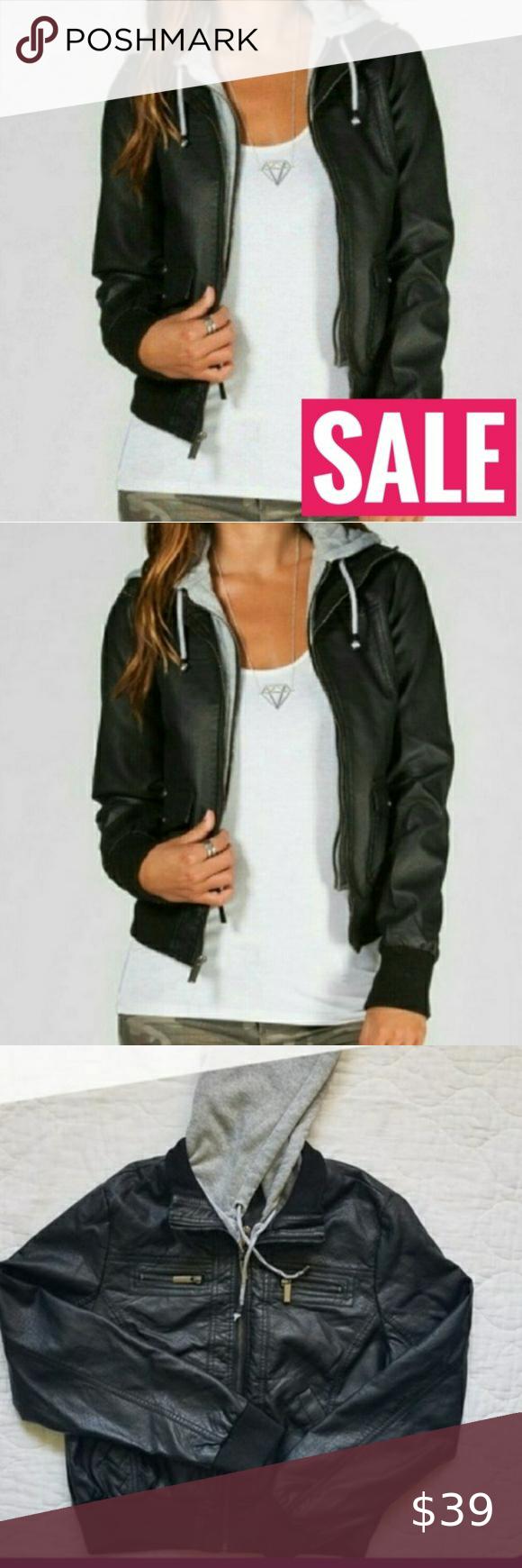 Sale Nwt Vegan Leather Sweatshirt Hoodie Layer Nwt Layered Jacket Notes Everyone Nee Leather Sweatshirt Womens Black Leather Jacket Maroon Leather Jacket [ 1740 x 580 Pixel ]