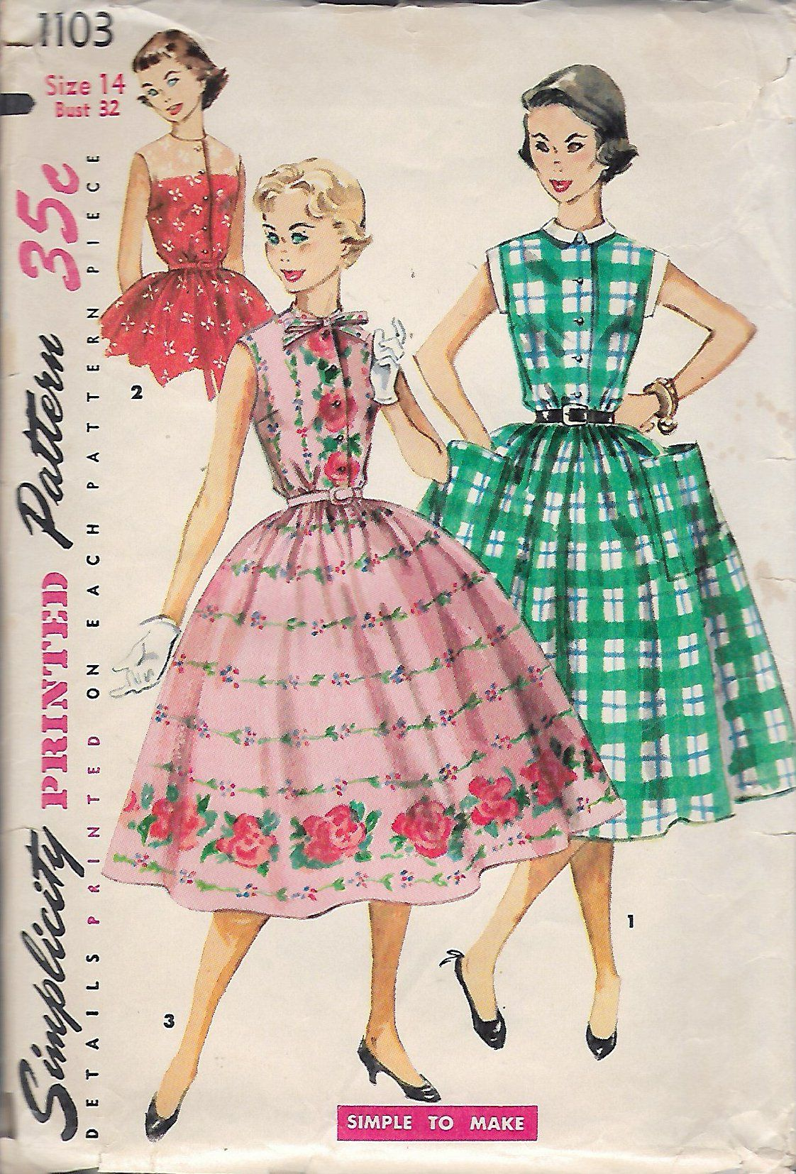 Vintage 1950\'s Simplicity 1103 Teen Age One-Piece Dress Sewing ...