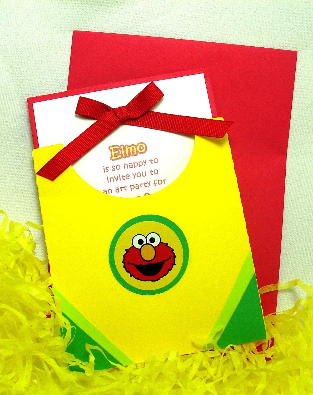 10 Handmade Elmo Die Cut Crayon Box Invitations 3750 Via Etsy