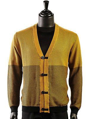 LaVane Mens New Gold Black Color Trendy European Inspired Cardigan ...