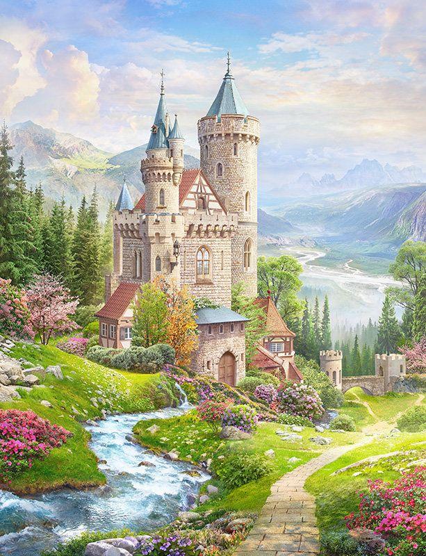 Схема вышивки «Замок» - Вышивка крестом   Пейзажи, Идеи ...