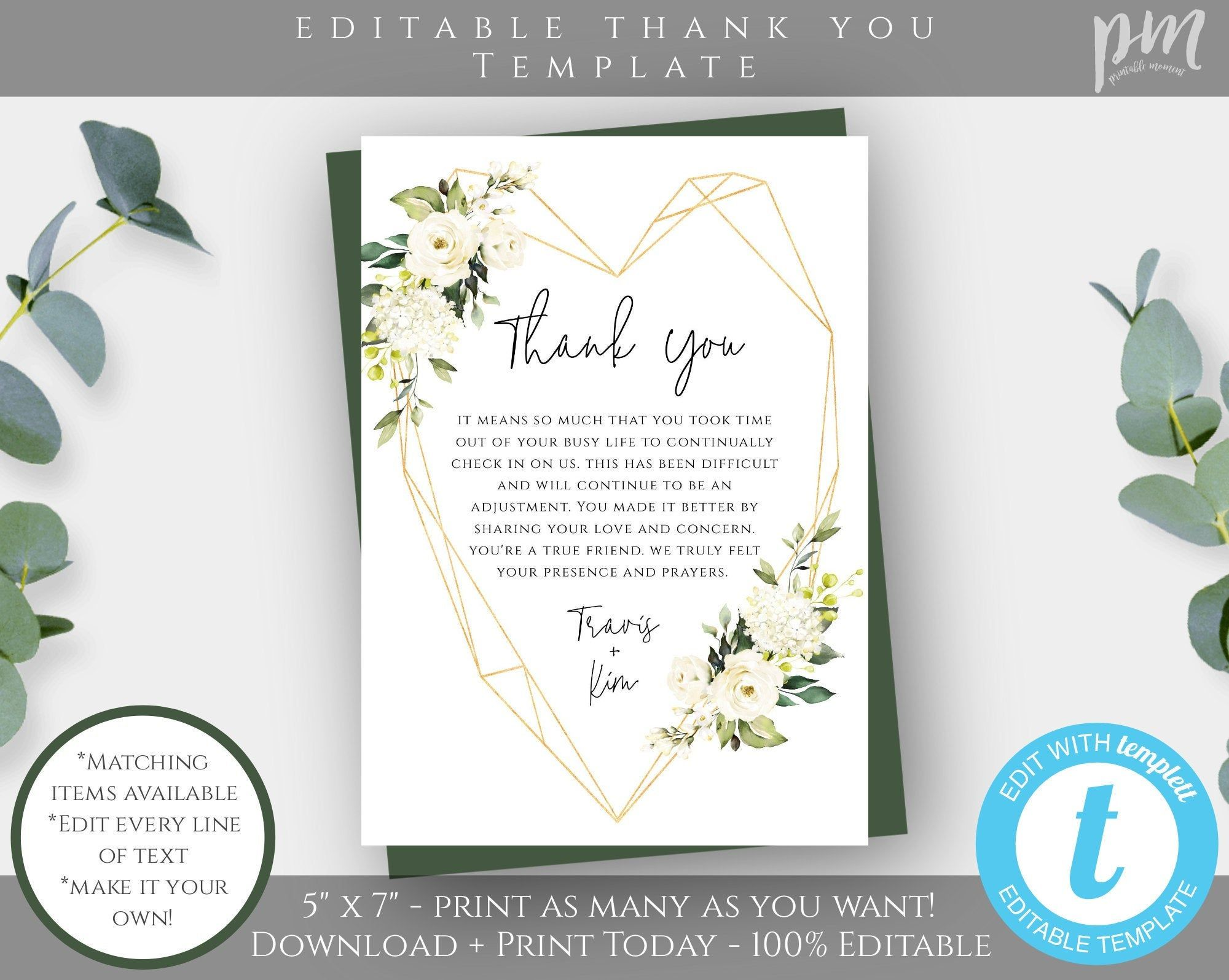 White Floral Funeral Thank You Card Template 5x7 Greenery Etsy Funeral Thank You Cards Thank You Card Template Funeral Thank You
