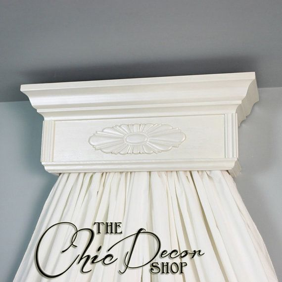 Bed Crown Canopy Crib Crown Nursery Design Wall Decor: Bed Crown, Cream Pearl,Crib Crown With Ornate Wood