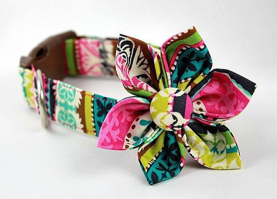 Fabric dog collar with coordinating fabric flower.