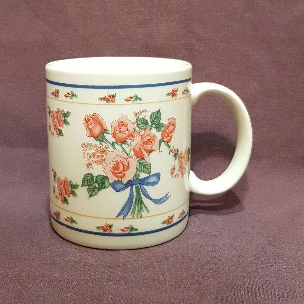 Pink Roses Coffee Mug Flowers Spring 10 oz Cup Blue Ribbon