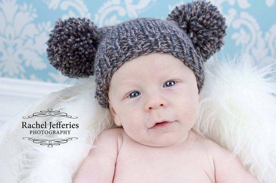 a35866b3d Knitted newborn baby hat boy - brown grey marl pom pom hat - baby ...