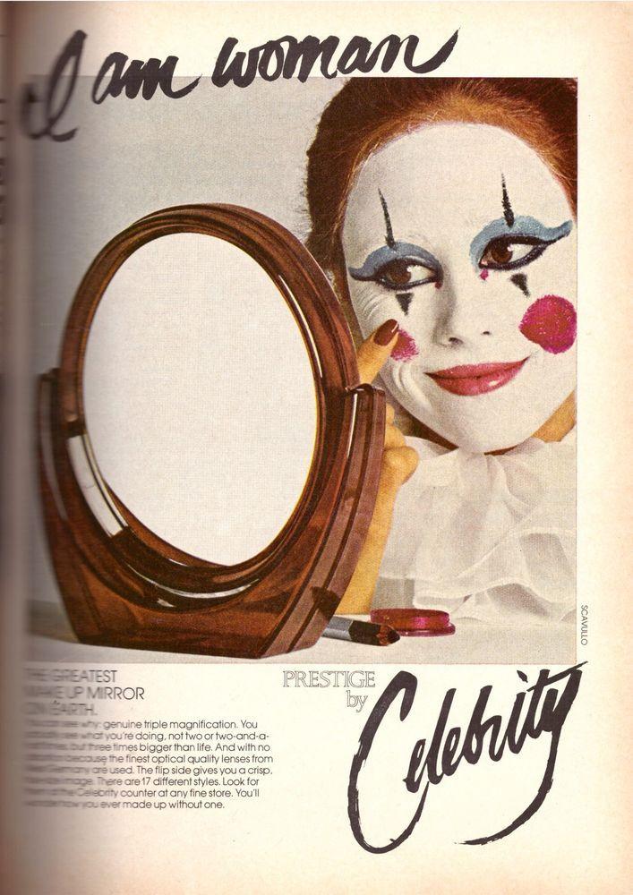 1978 Celebrity Prestige Makeup Mirror Clown Face Retro Print Ad ...