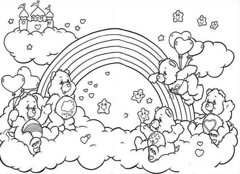 Beautiful Rainbow Coloring Pages To Print Bear Coloring Pages Cartoon Coloring Pages Disney Coloring Pages