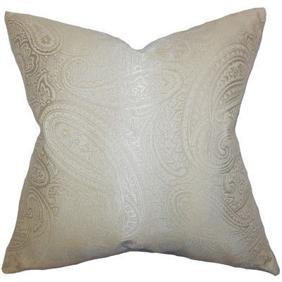 """The Pillow Collection Cashel Paisley Throw Pillow Color: Neutral, Size: 24"""" x 24"""""""
