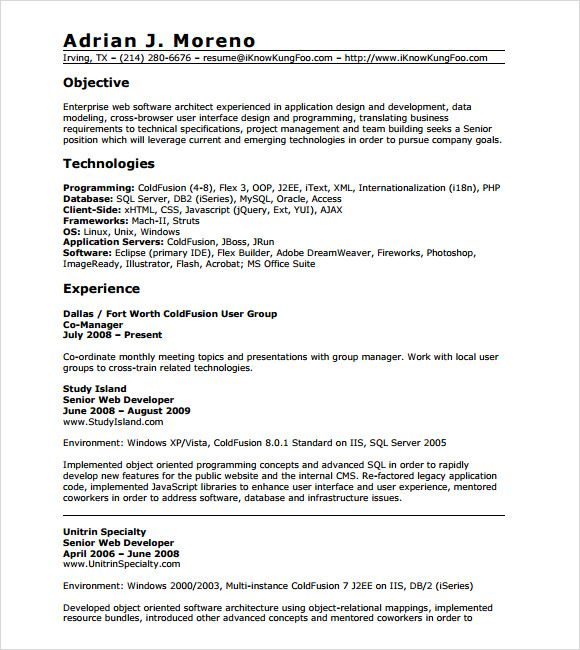 Software Architect Sample Resume 8 Years Experience Resume Format  Resume Format  Pinterest .