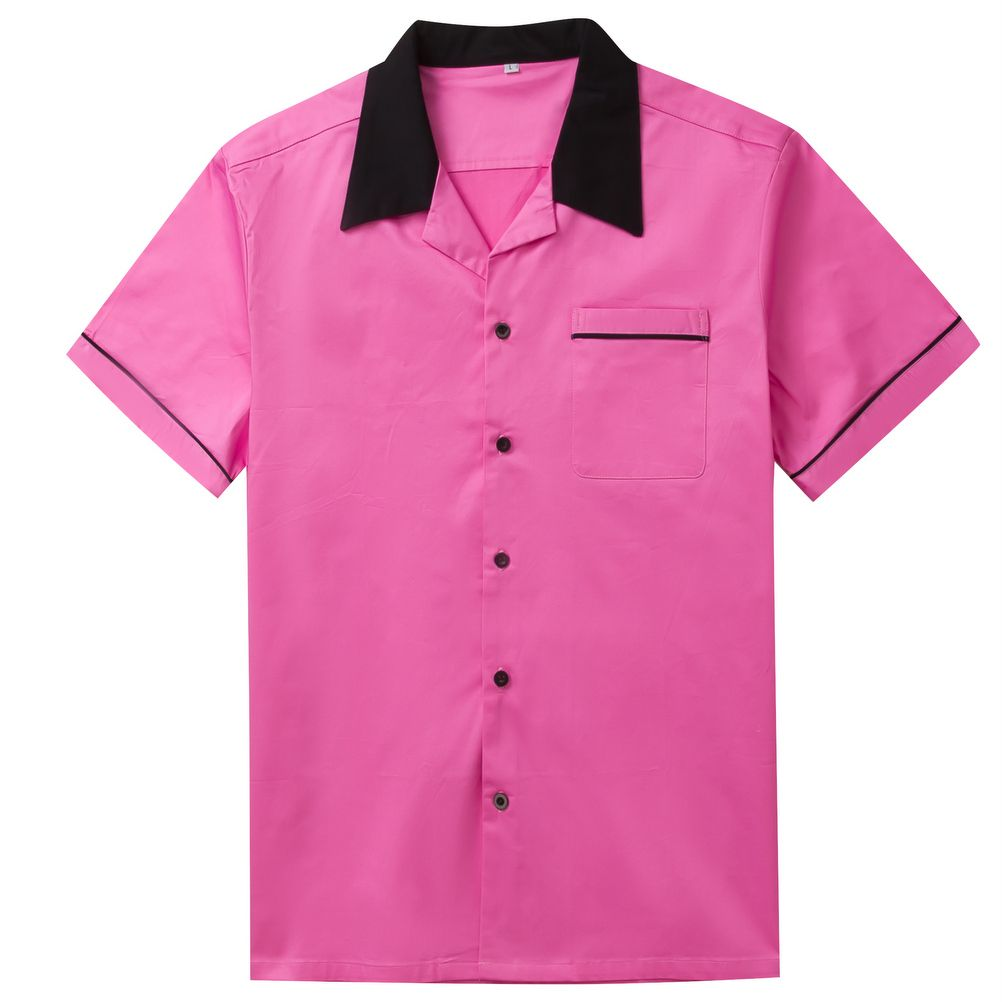 Candow Look Mens Bowling Shirts Plus Size Patchwork Casual Shirt